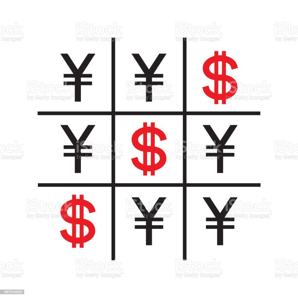 Tic-tac-toe money concept vector art illustration
