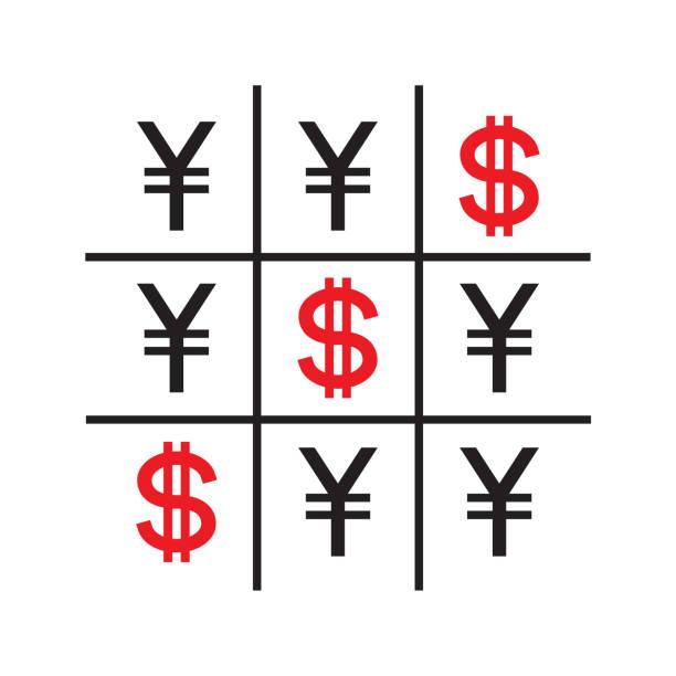 Tic Tac Toe Money Concept Vector Art Illustration