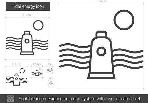 tidal energy line icon stock illustration download image