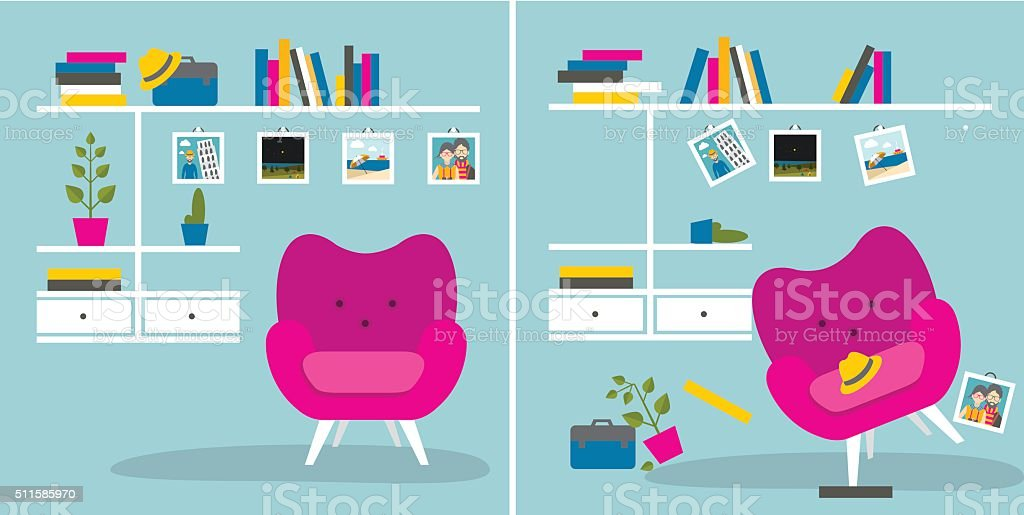 Tidy und untidy room. Living room with armchair, book shelves. vector art illustration
