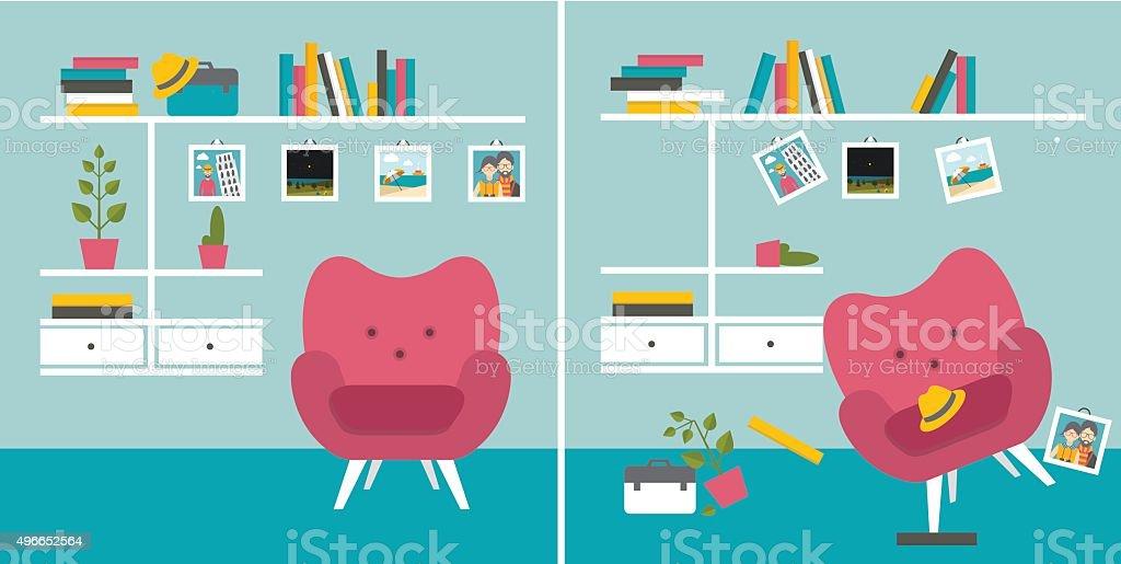 Tidy und untidy room. vector art illustration