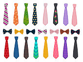 Tie collection. Men suits accessories bows and ties fashioned vector illustrations. Necktie accessory, clothes striped, tie bow collection