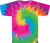 Vector illustration of a tie dye t-shirt.