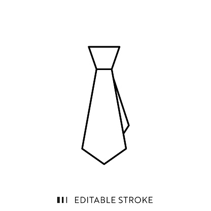 Tie Icon with Editable Stroke and Pixel Perfect.