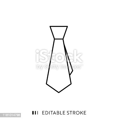 istock Tie Icon with Editable Stroke and Pixel Perfect. 1181014798
