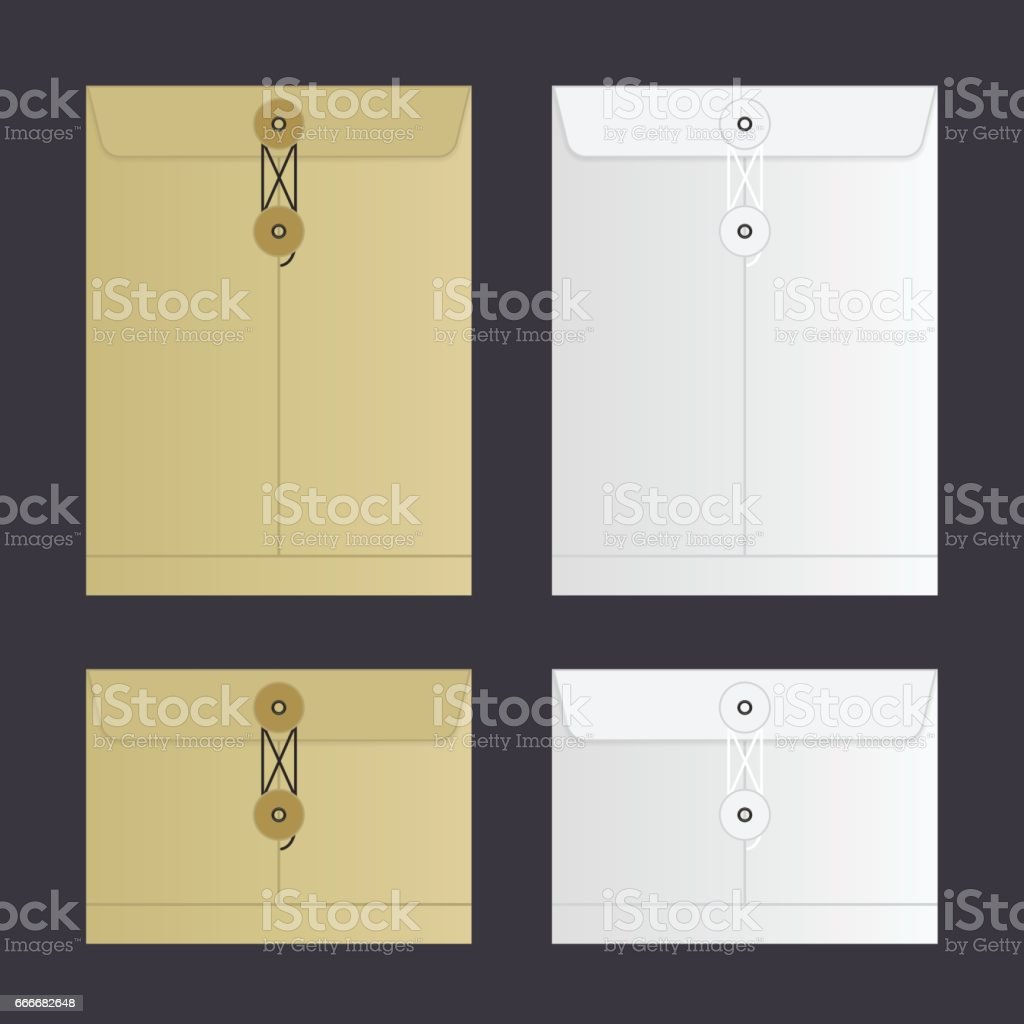Tied Sealed Letter Envelopes Set Isolated on dark Background vector art illustration