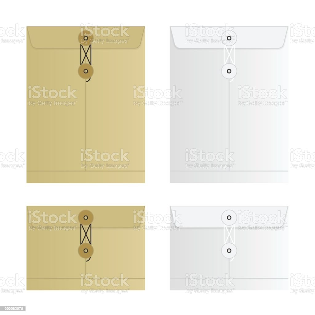 Tied Sealed Letter Envelopes Set Isolated on White Background vector art illustration