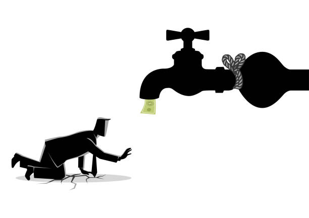 Tied Up Funds Business concept vector illustration of an exhausted businessman approaching a tied up water tap. budget silhouettes stock illustrations