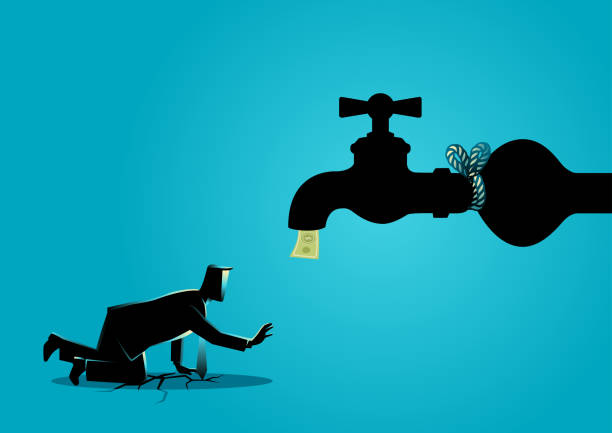 tied up funds - tap water stock illustrations
