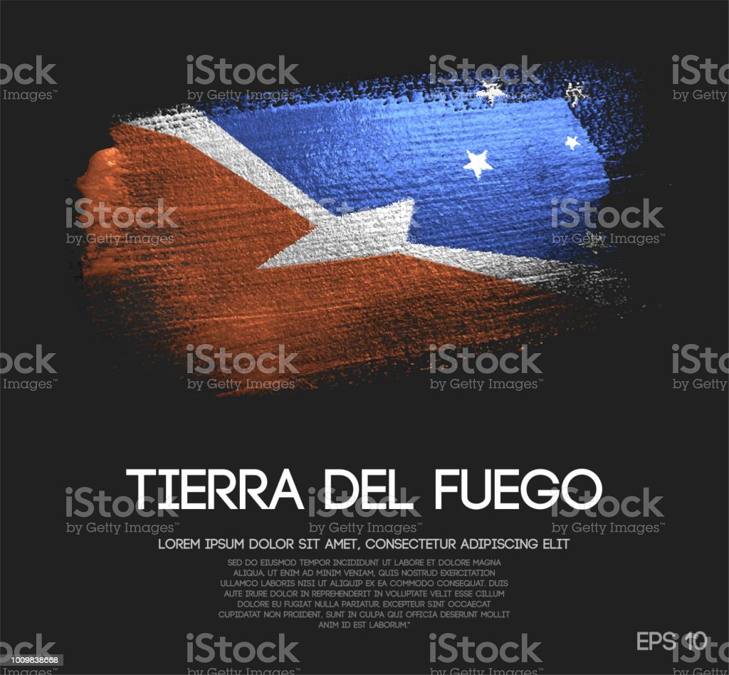 Tierra del Fuego Flag Made of Glitter Sparkle Brush Paint Vector