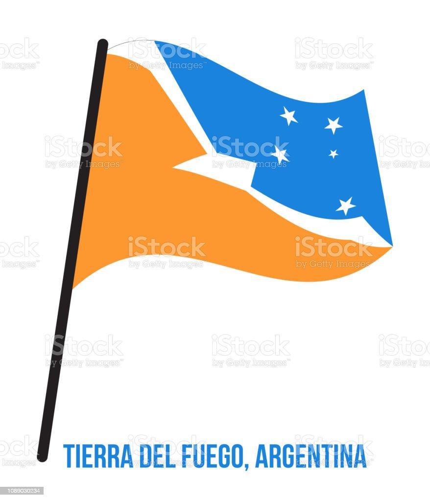 Tierra Del Fuego Flag Waving Vector Illustration on White Background. Flag of Argentina Provinces