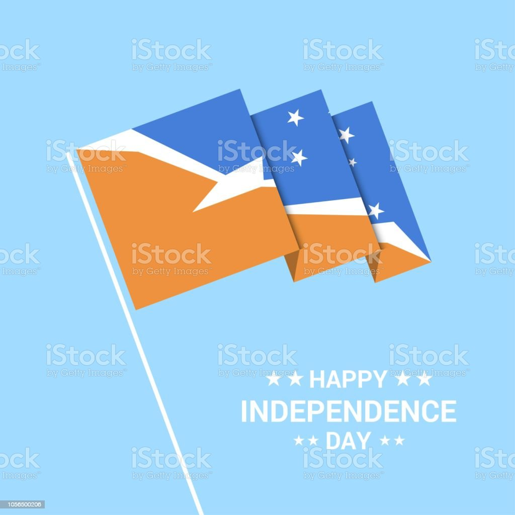 Tierra del Fuego province Argentina Independence day typographic design with flag vector