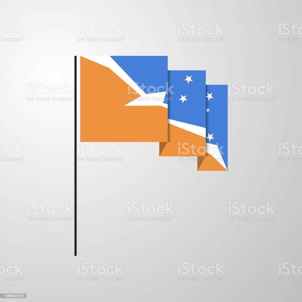 Tierra del Fuego province Argentina waving Flag creative background