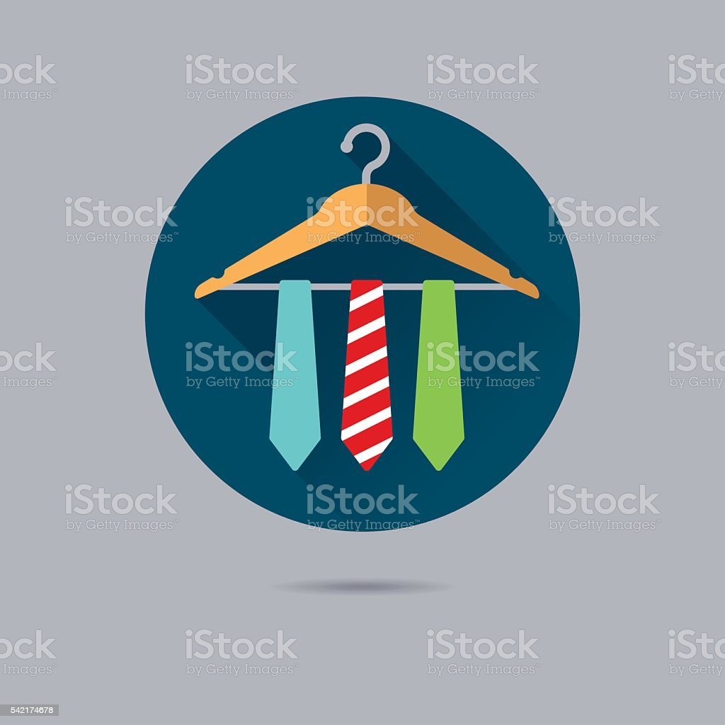 ties on clothes hanger flat design vector icon vector art illustration