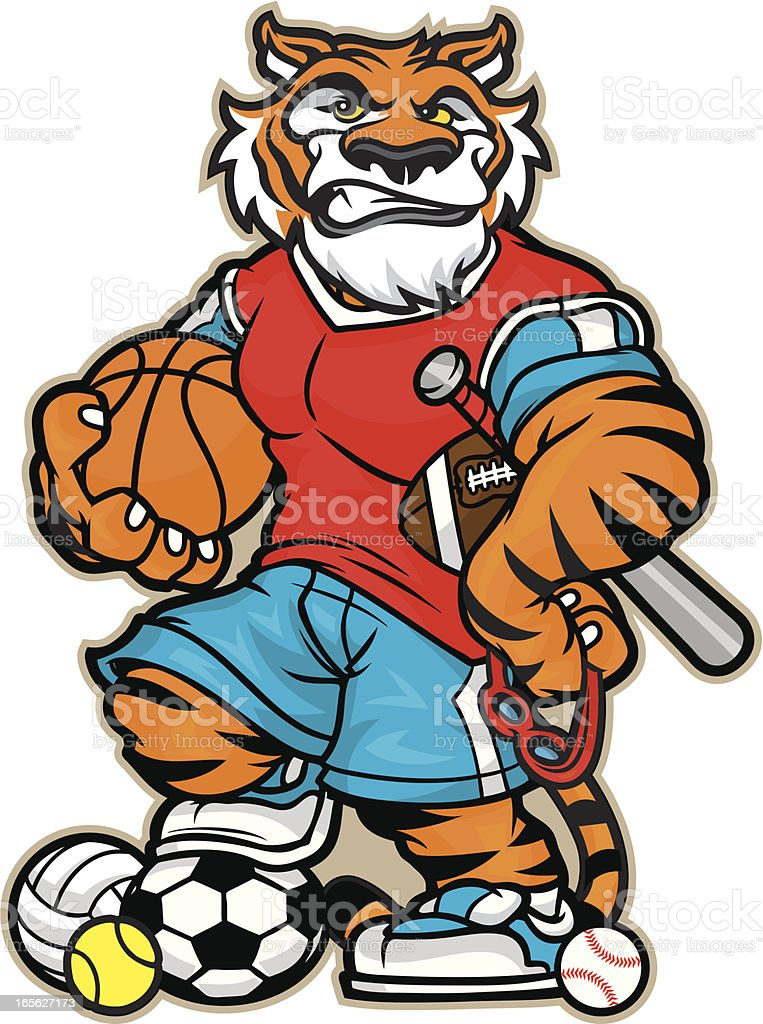 Tiger Allsport Mascot royalty-free stock vector art