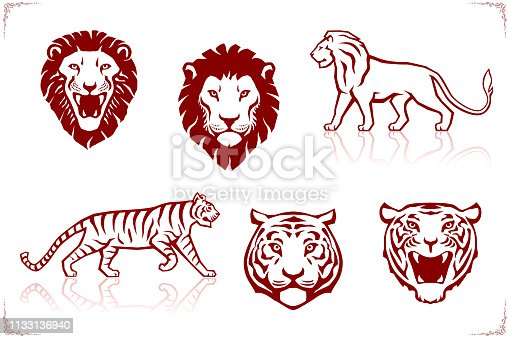 Illustration in red of the front view of a tiger's and lion's heads and silhouettes