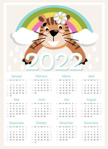 Tiger and rainbow calendar 2022 week start from Sunday