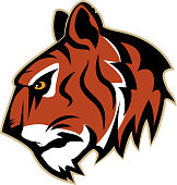 Tiger angry logo. Emblem for sport team. Mascot.