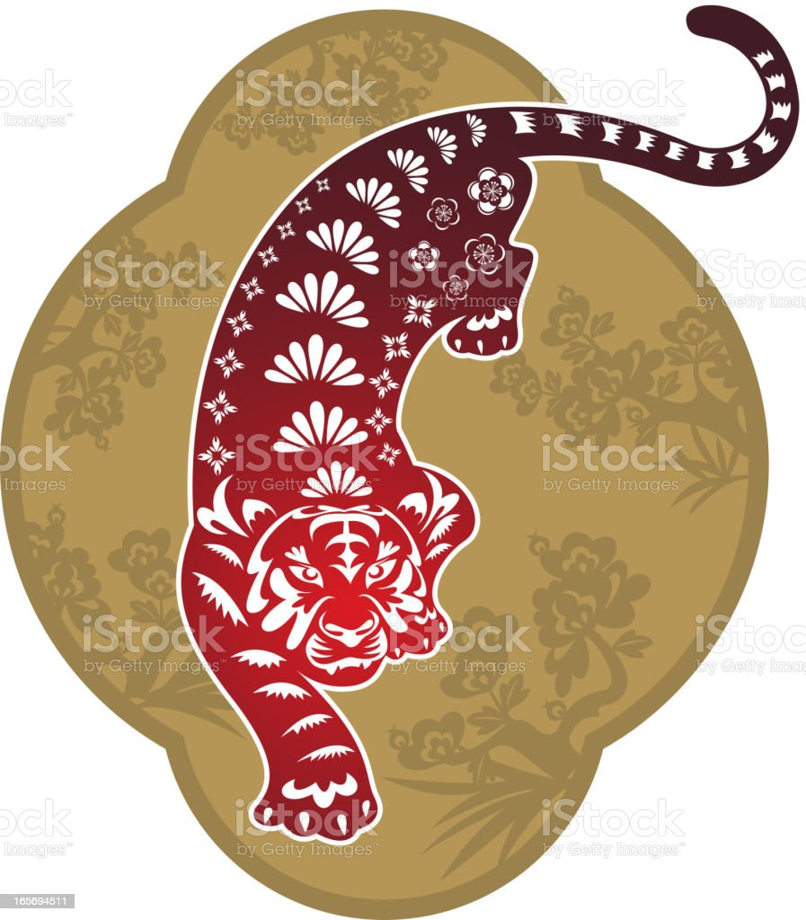 Tiger Art Chinese Paper-cut Art royalty-free stock vector art