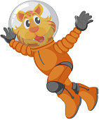 A tiger astronaut character illustration