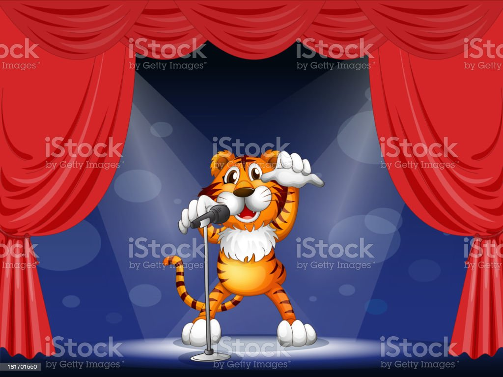 Tiger at the center of stage royalty-free tiger at the center of stage stock vector art & more images of abdomen
