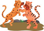 Two tiger baby fighting in jungle. AI 10 EPS file. Special effects and transparency used in this artwork.