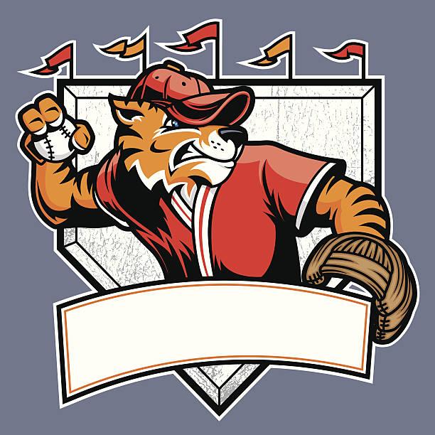 Tiger Baseball Mascot vector art illustration