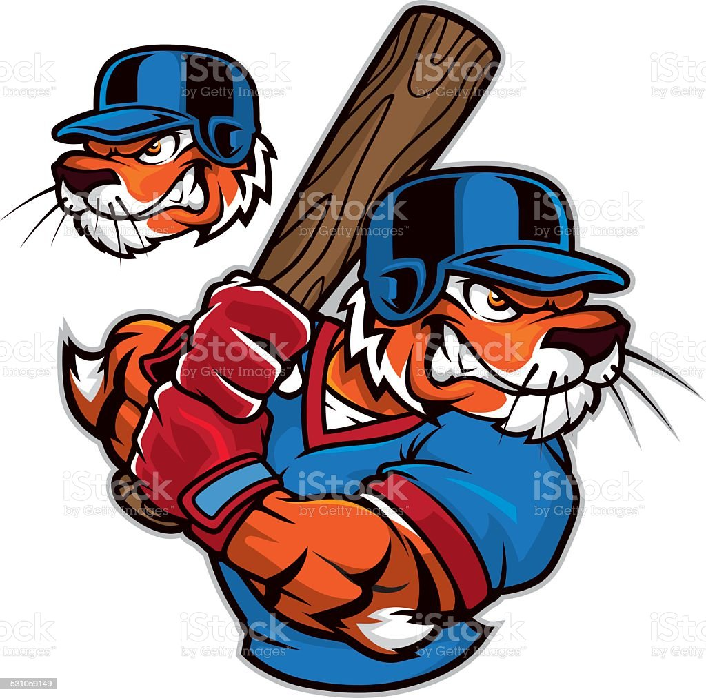 Bengal Tiger Mascot Holding Baseball Bat Vector Cartoon Clipart -  FriendlyStock