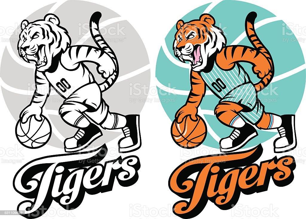 Tiger basketball mascot vector art illustration