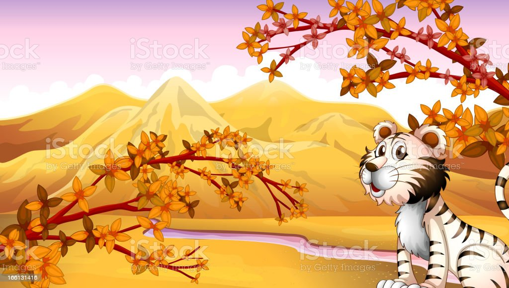Tiger beside the river royalty-free stock vector art