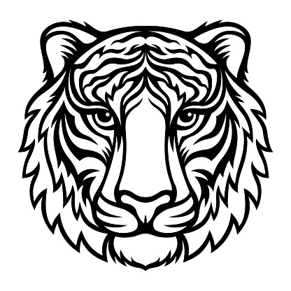 Tiger. Black vector silhouette. Symbol 2022 New Year. Template for laser and paper cutting.
