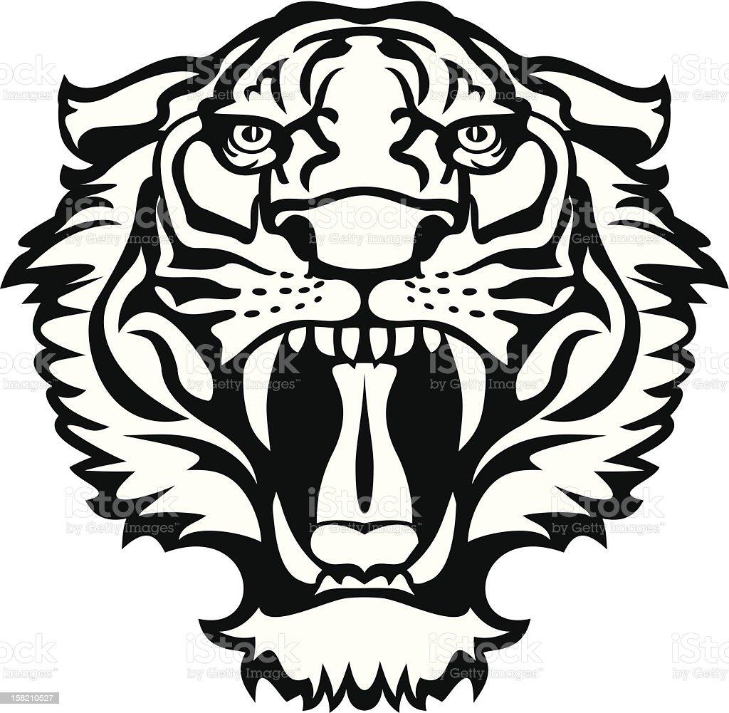 Tiger black/white tattoo vector art illustration