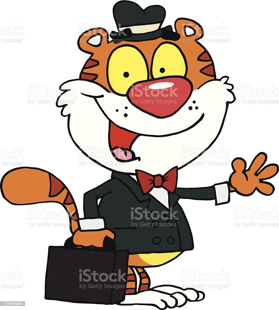 Tiger Businessman With Briefcase Waving A Greeting royalty-free tiger businessman with briefcase waving a greeting stock vector art & more images of animal