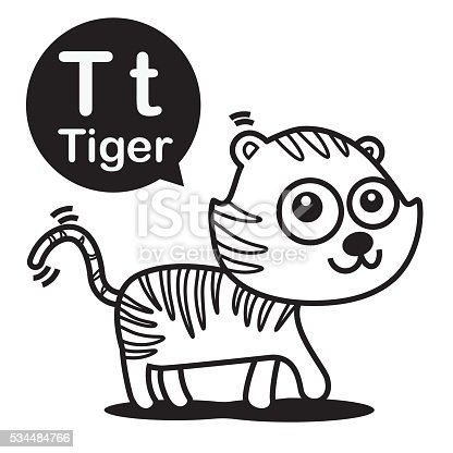 istock Tiger cartoon and alphabet for children to learning and colori 534484766