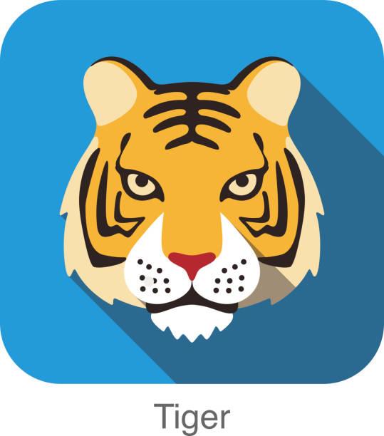トラ猫の顔を持つ、イラストのフラットアイコンのデザイン - トラ点のイラスト素材/クリップアート素材/マンガ素材/アイコン素材