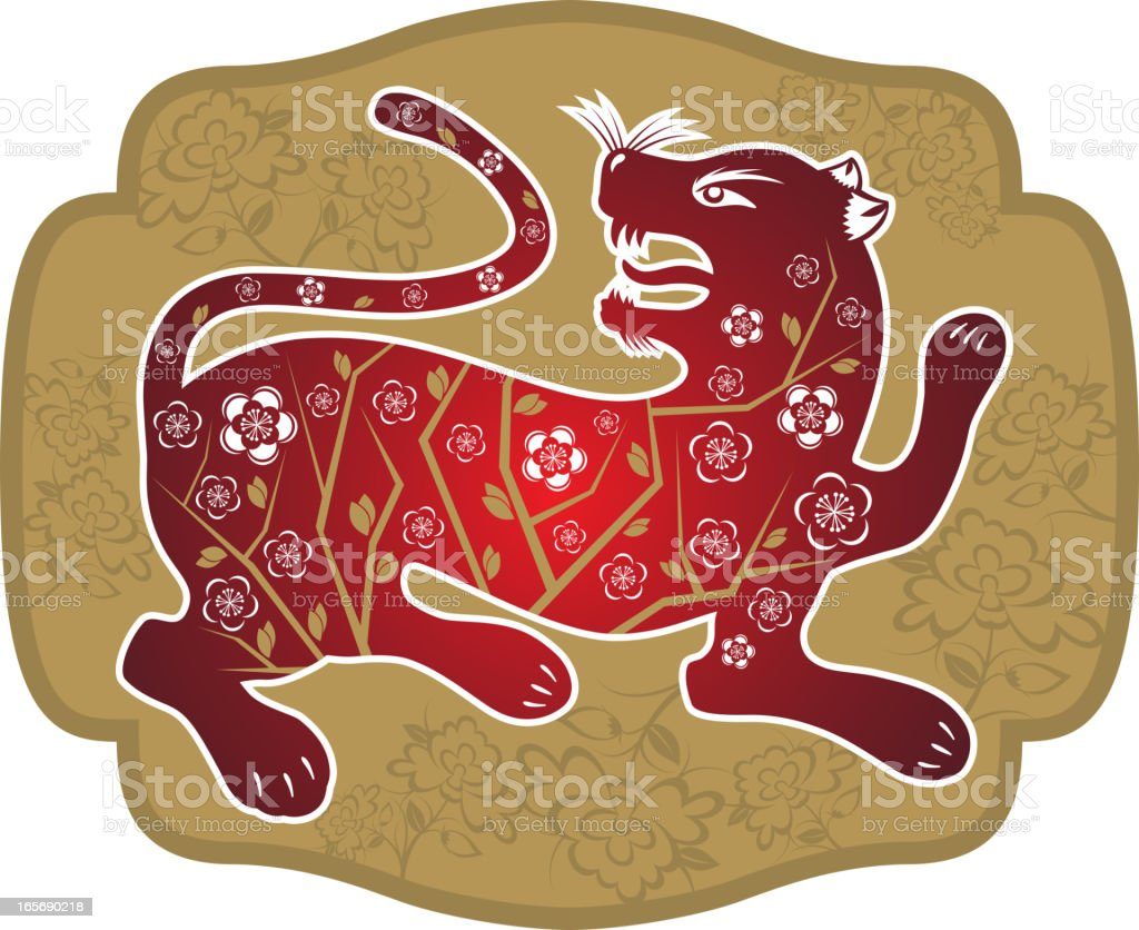 Tiger Chinese Paper-cut Art royalty-free stock vector art