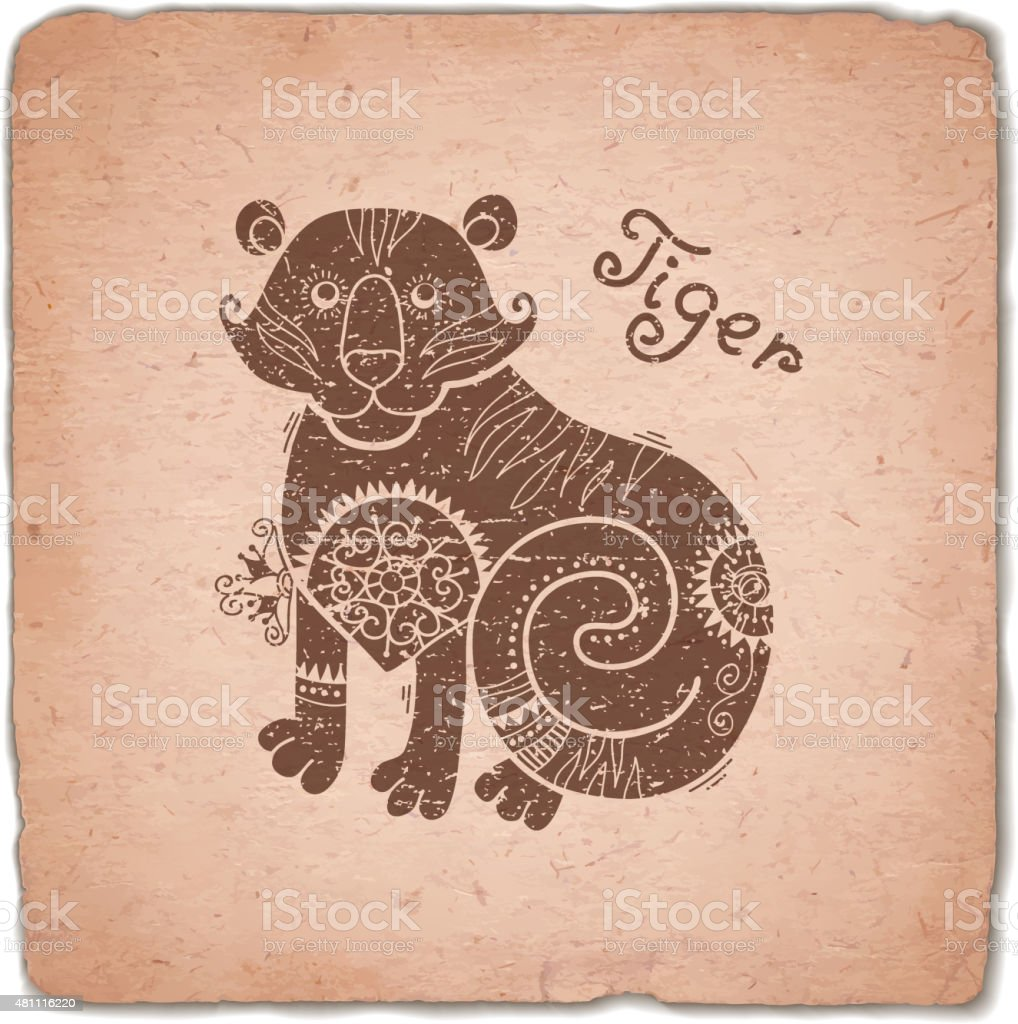 Tiger. Chinese Zodiac Sign Horoscope Vintage Card vector art illustration