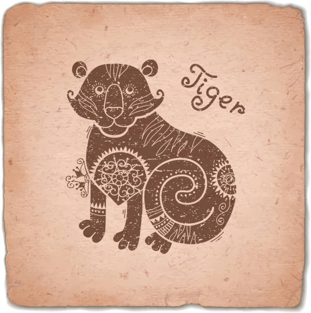 Tigre. Signe du zodiaque Horoscope chinois carte Vintage - Illustration vectorielle