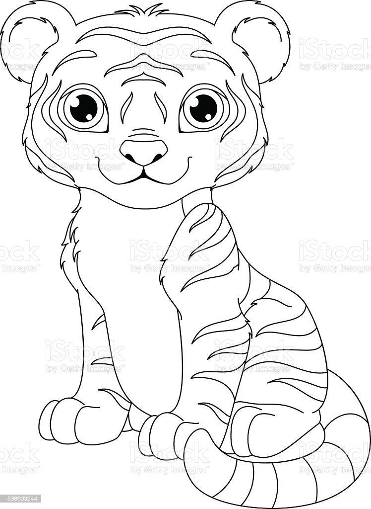 Tiger Färbung Seite Stock Vektor Art und mehr Bilder von ClipArt ...