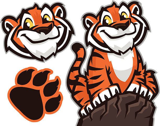 tiger cub pack - tiger stock illustrations, clip art, cartoons, & icons