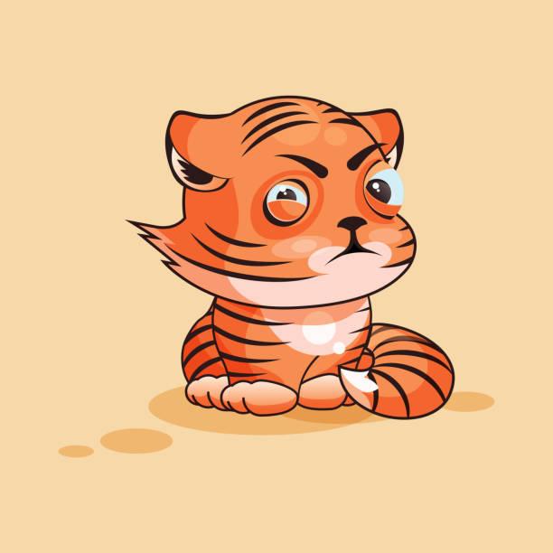 ilustrações, clipart, desenhos animados e ícones de cria de tigre vesgo - emoji ciumento