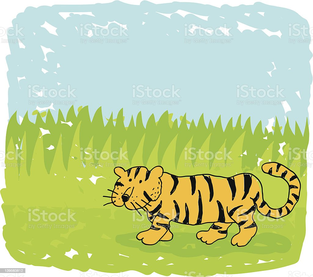 tiger doodle royalty-free stock vector art
