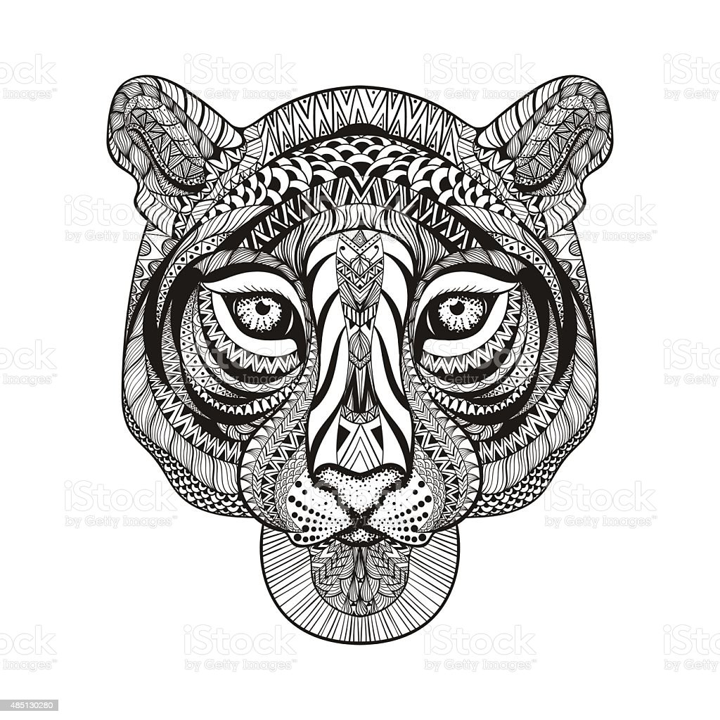 Tiger Face Hand Drawn Doodle Vector Illustra Stock