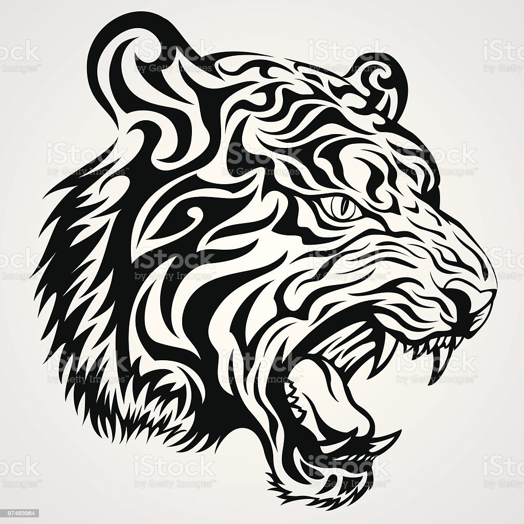 Tiger Face Tattoo royalty-free tiger face tattoo stock vector art & more images of animal