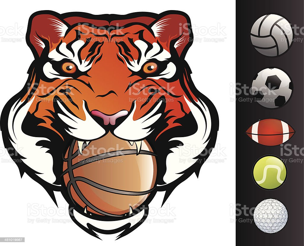 Tiger Face with sports Balls royalty-free stock vector art