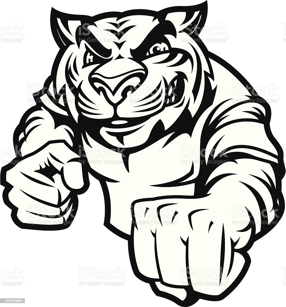 Tiger Fight Stance B&W royalty-free stock vector art