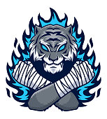 Tiger fighter with blue fire illustration