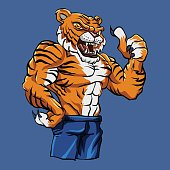 Tiger Fighting Mascot Vector Illustration