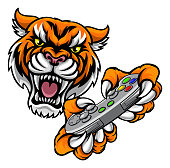 A tiger video game player online sports gamer animal mascot holding a controller