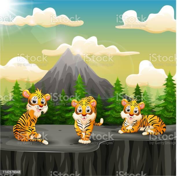 Tiger group cartoon enjoying on the mountain a cliff vector id1142176343?b=1&k=6&m=1142176343&s=612x612&h=gycjbrdvqghgmdo qfbrv9snn asgv0fgdiu  f2tua=
